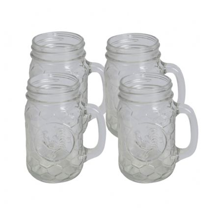 Rooster Beehive Design - Set of 4 Mason Jar Glasses 17.5oz